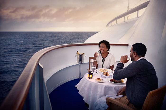 couple having dinner on cruise