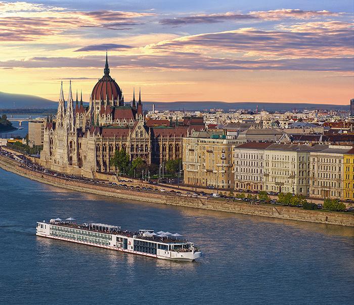 The Viking Longship Odin near the city of Budapest on the Danube River.