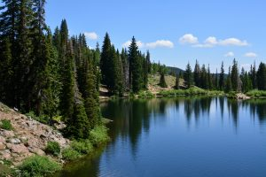 Bloods lake in the rocky mountains surrounding Park City, Utah.